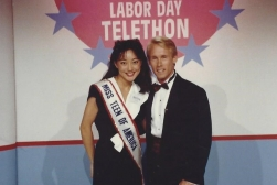 MTOA 1988-89 Maria Eguro with Bart Connors at Chicago TV Appearance